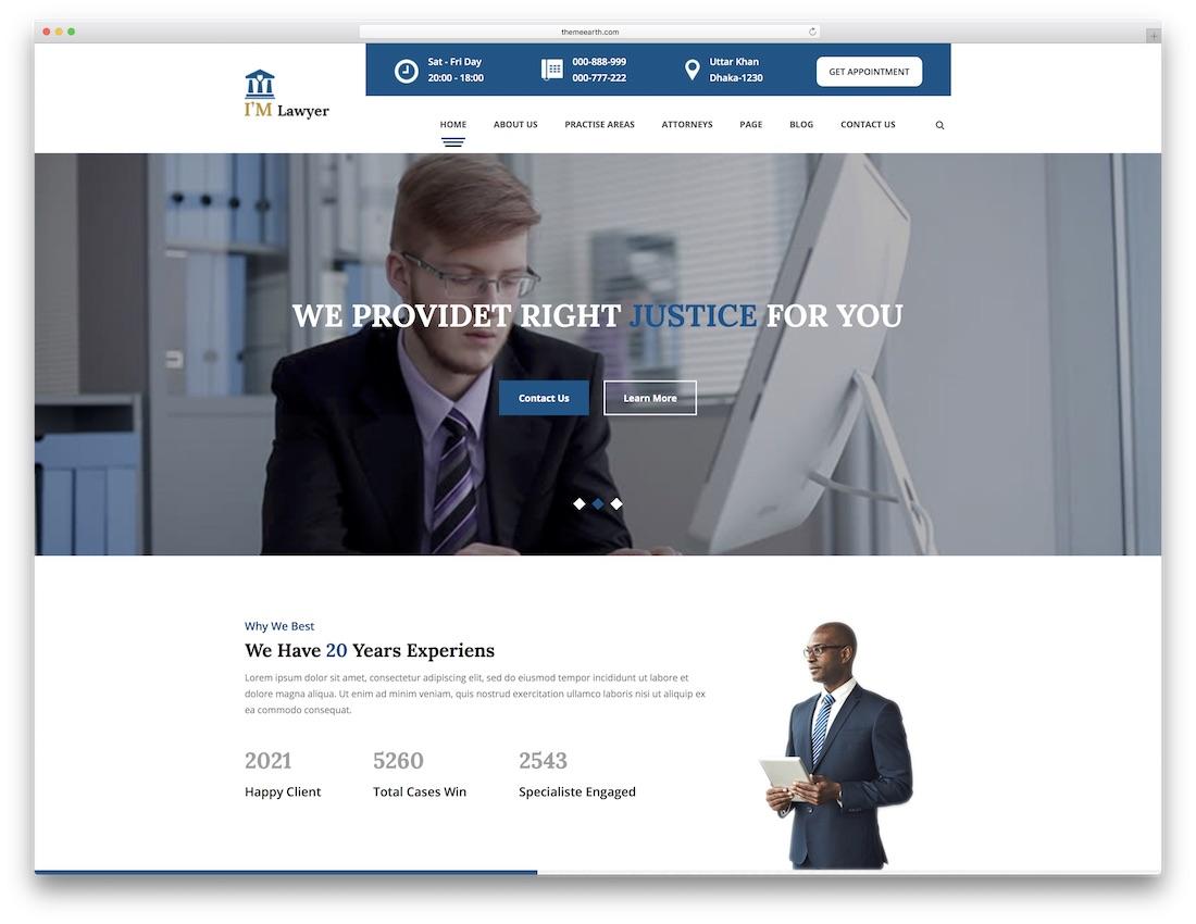 imlawyer lawyer website template