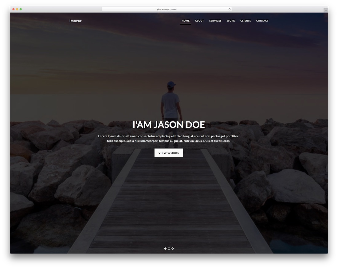 imozar bootstrap personal website template