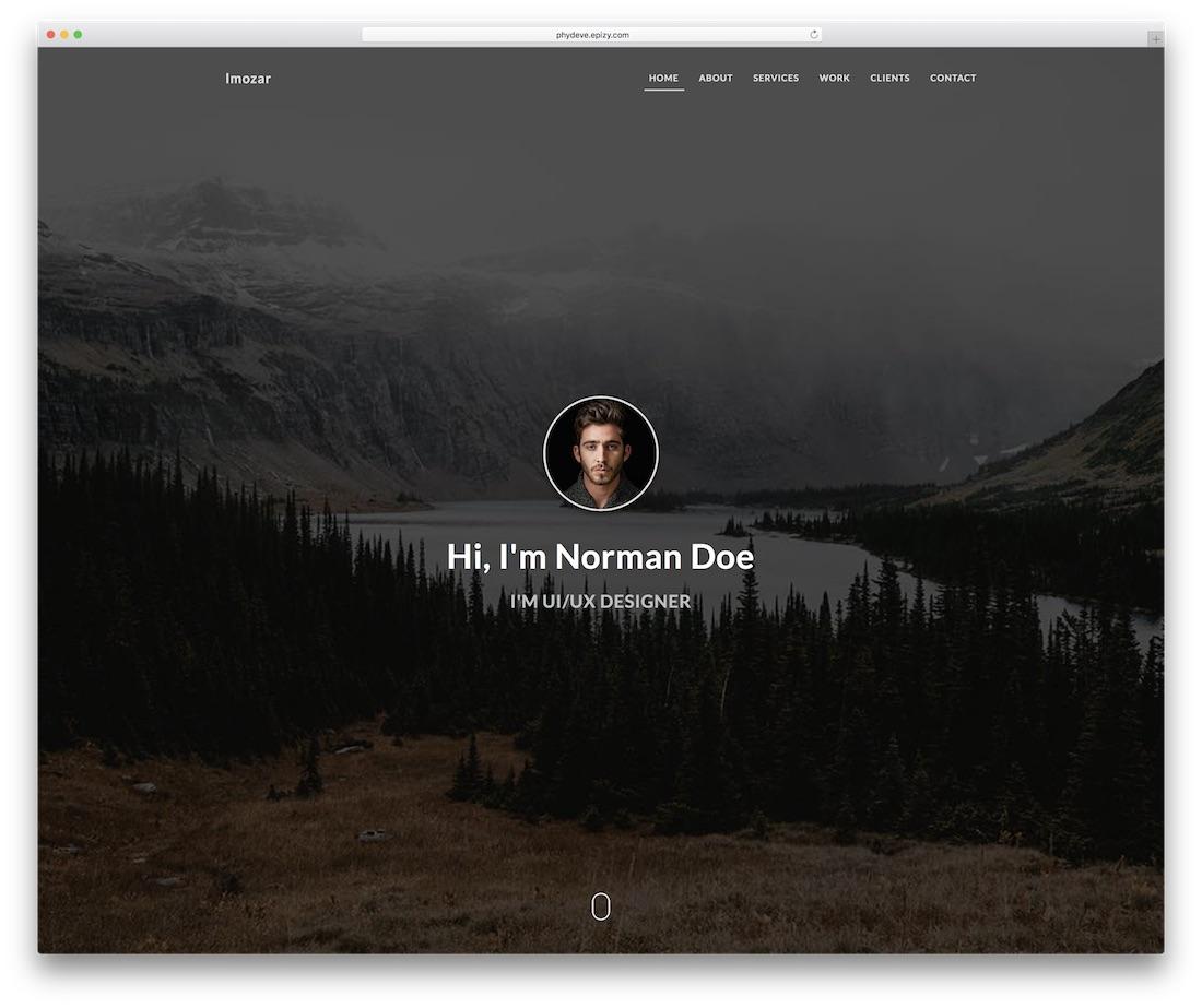 imozar personal website template
