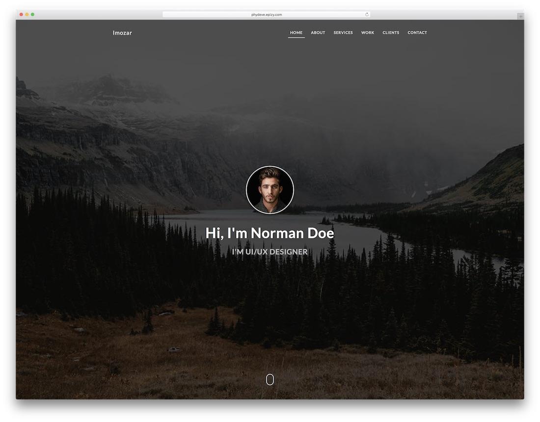 imozar resume website template