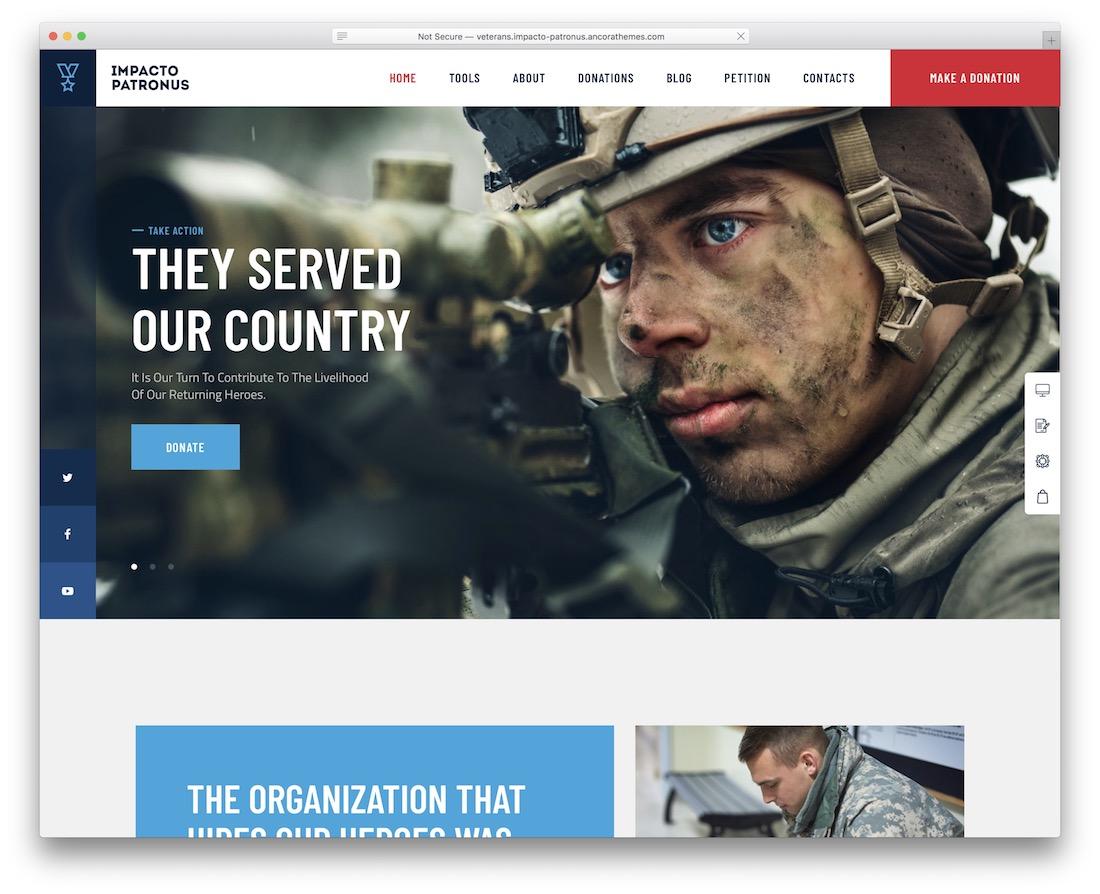 impacto patronus wordpress military theme