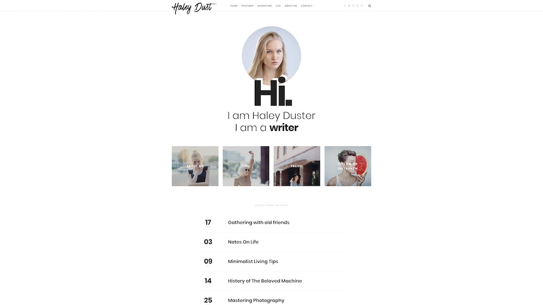 impose writer website template