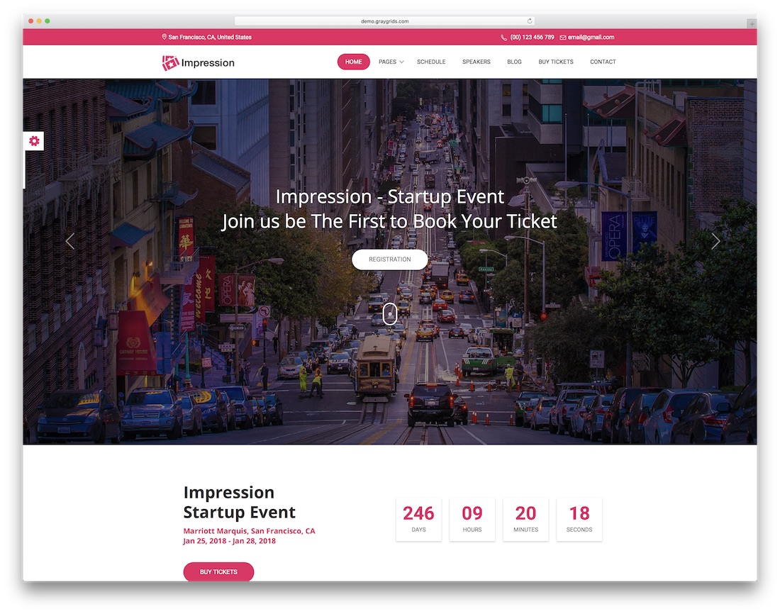 impression free event conference website template