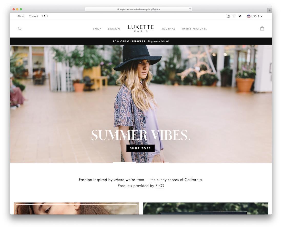 impulse boutique shopify theme