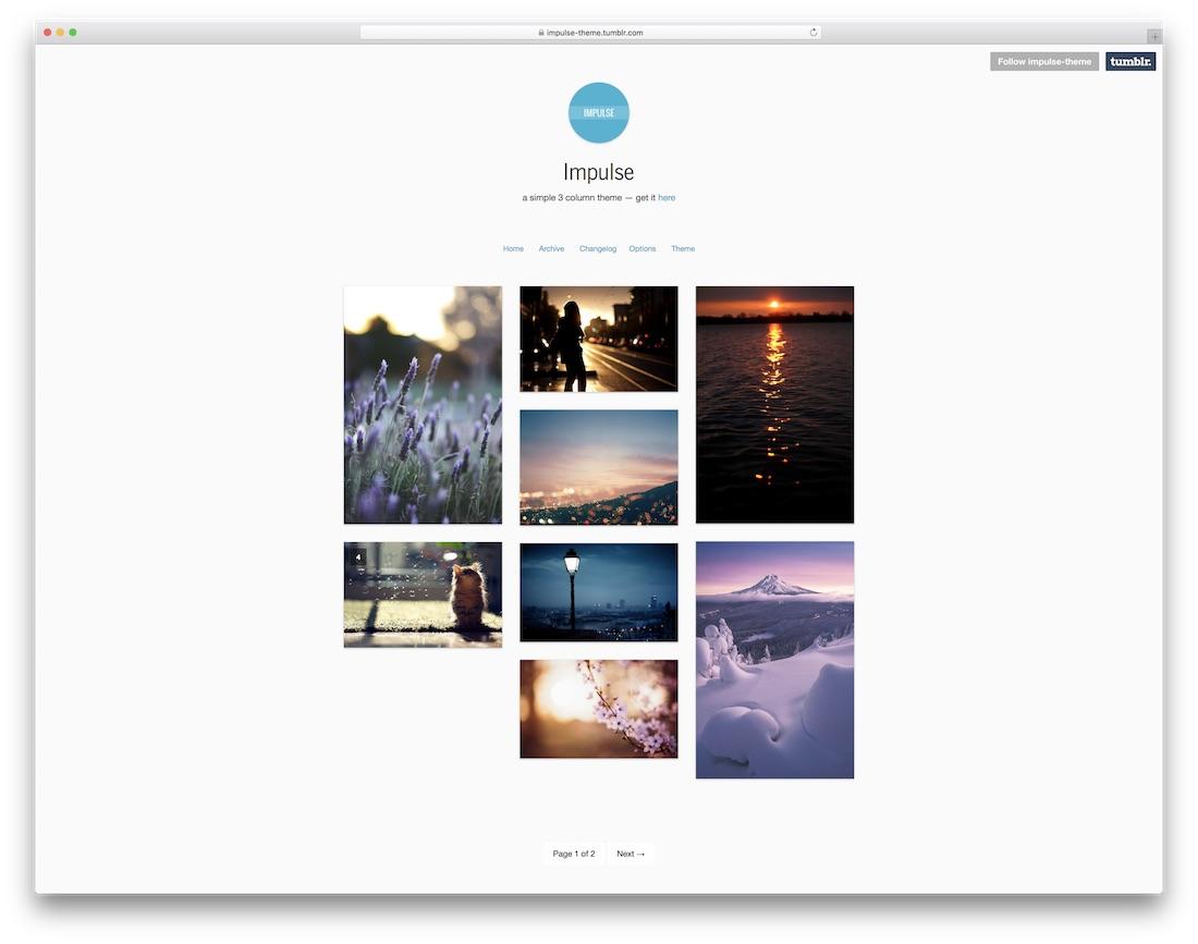 impulse free tumblr theme