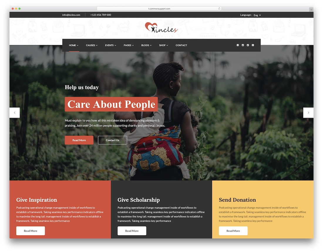 incles html charity website template