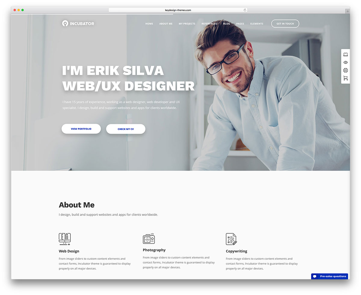 Incubator Personal Website Wordpress Theme  Wordpress Resume Themes