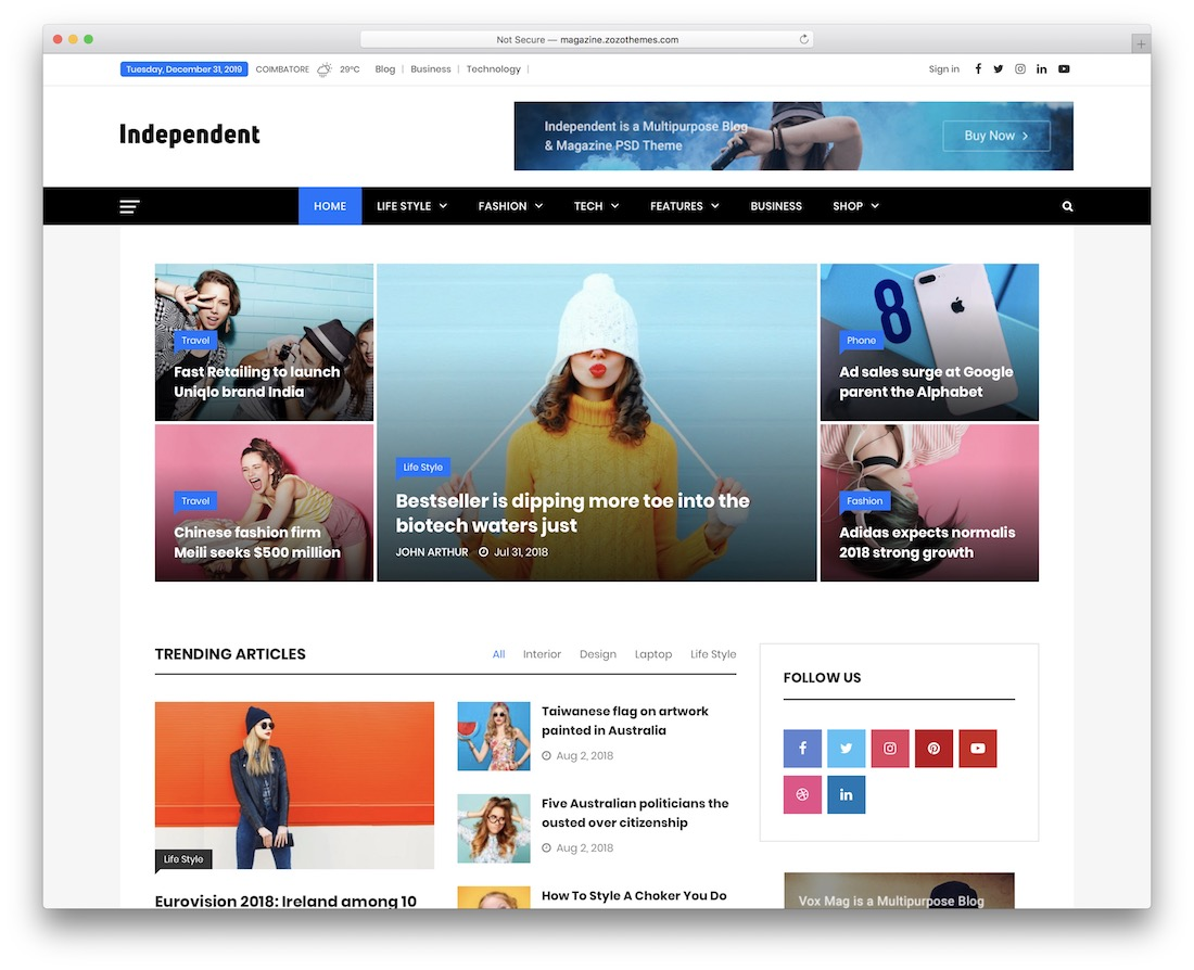 independent news wordpress theme