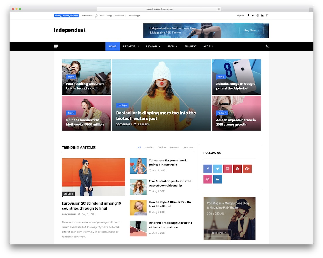 independent seo optimized wordpress theme