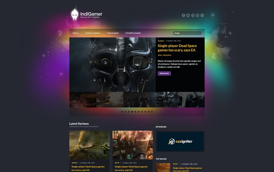 indigamer gaming HTML website template