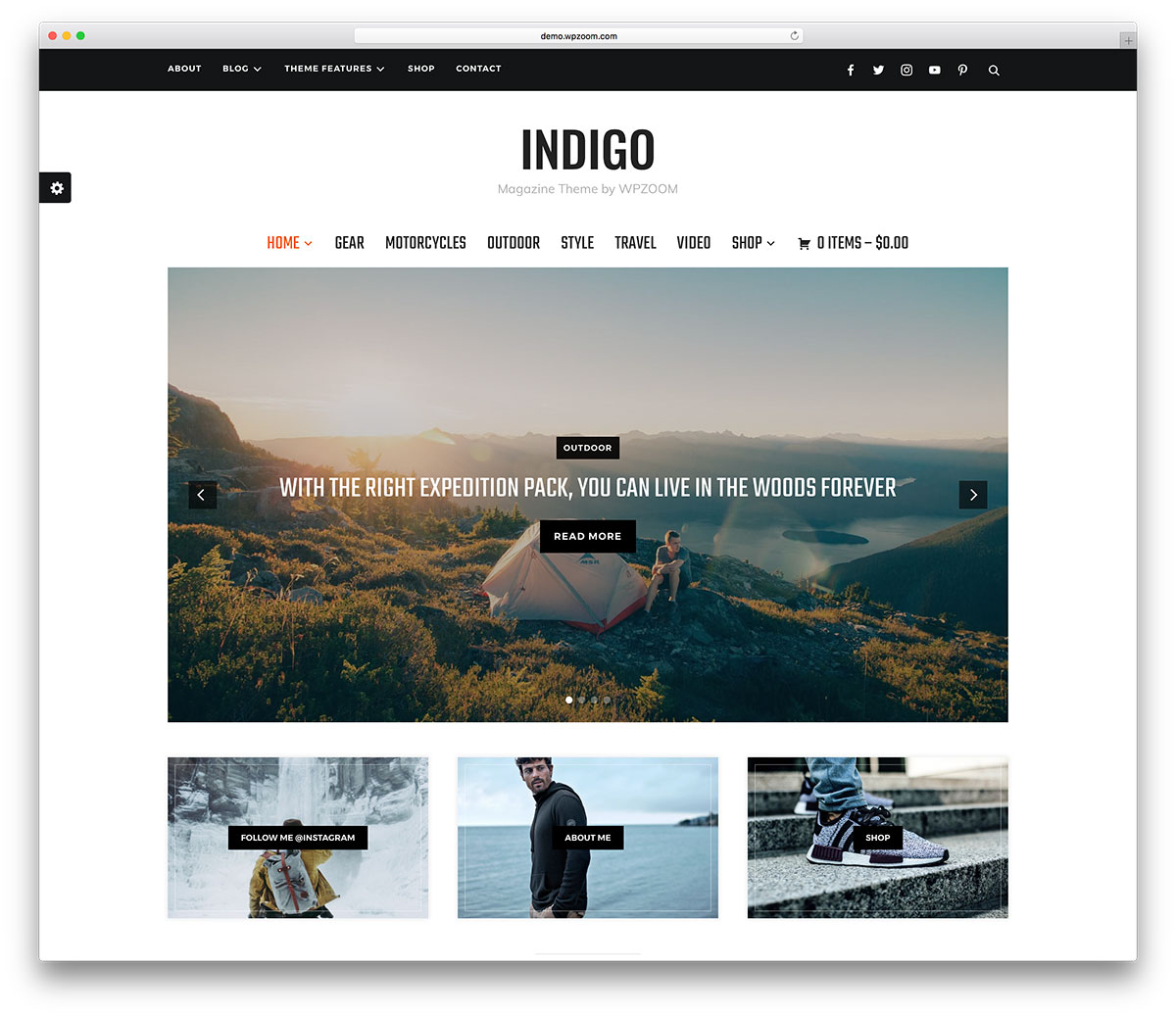 Indigo is wonderful WPZoom creation that lets you handle every single  detail with care. You will get it with a one-click demo install and  documentation.