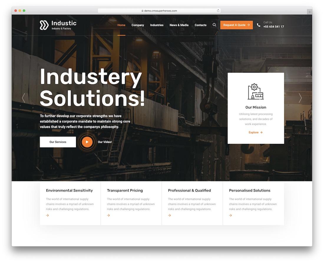 industic industrial wordpress theme