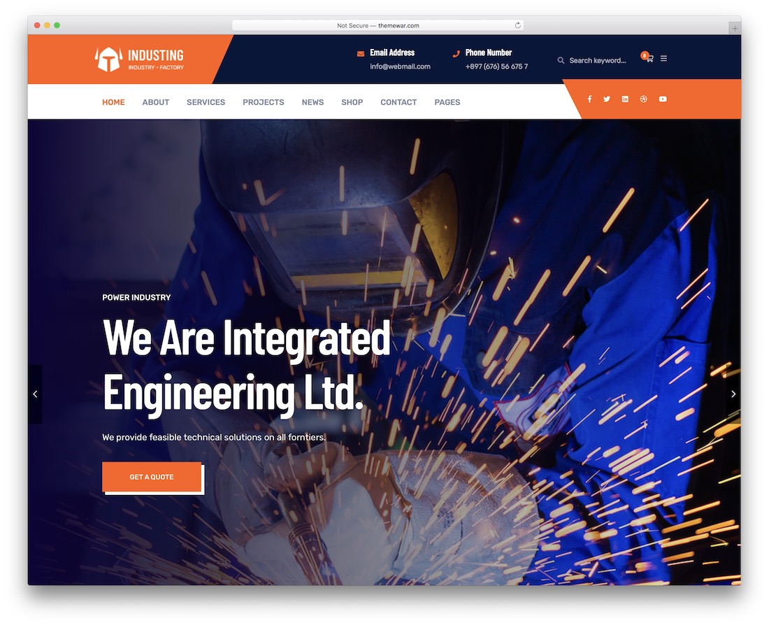 industin business website template