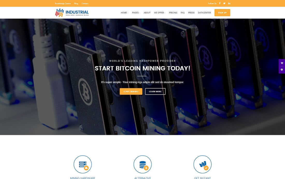 industrial cryptocurrency website template