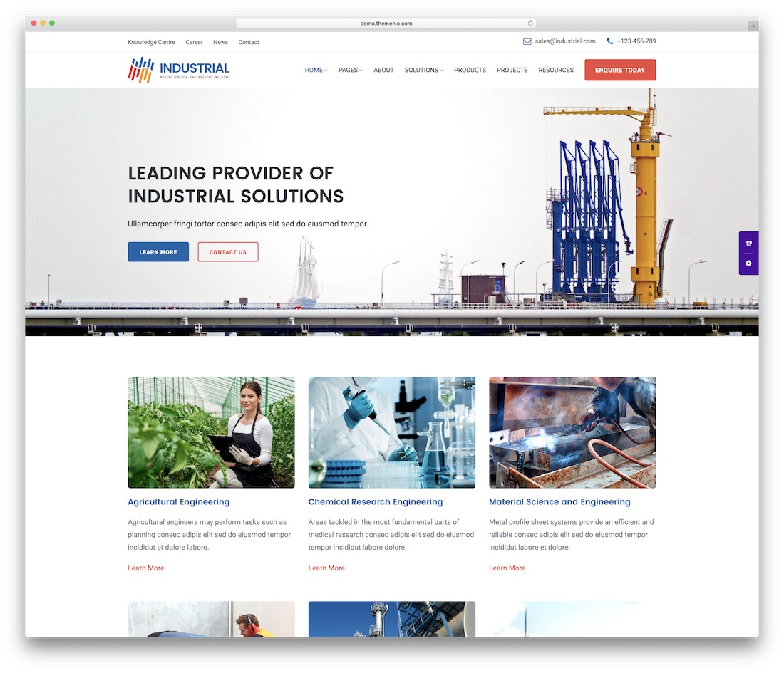 industrial business website template