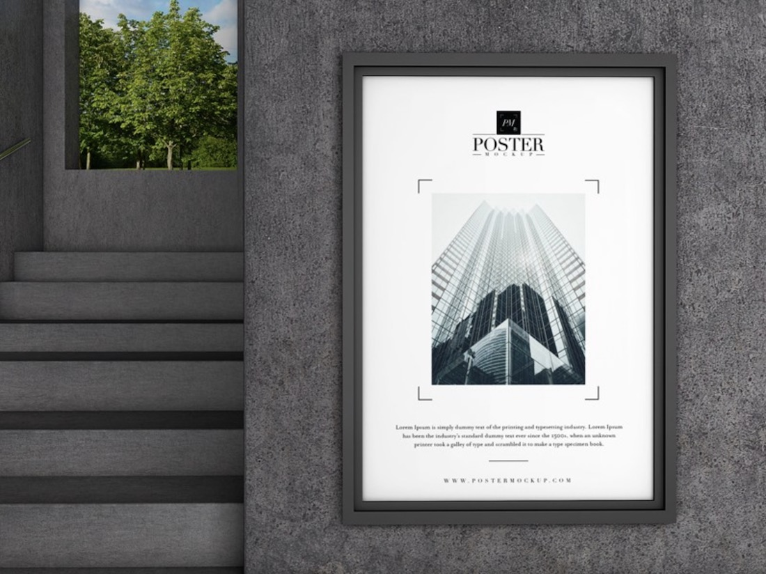industrial wall poster psd mockup