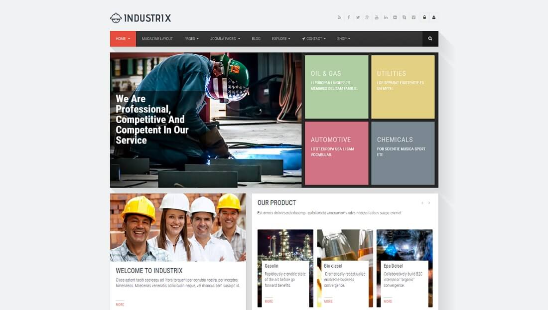 industrix joomla business template