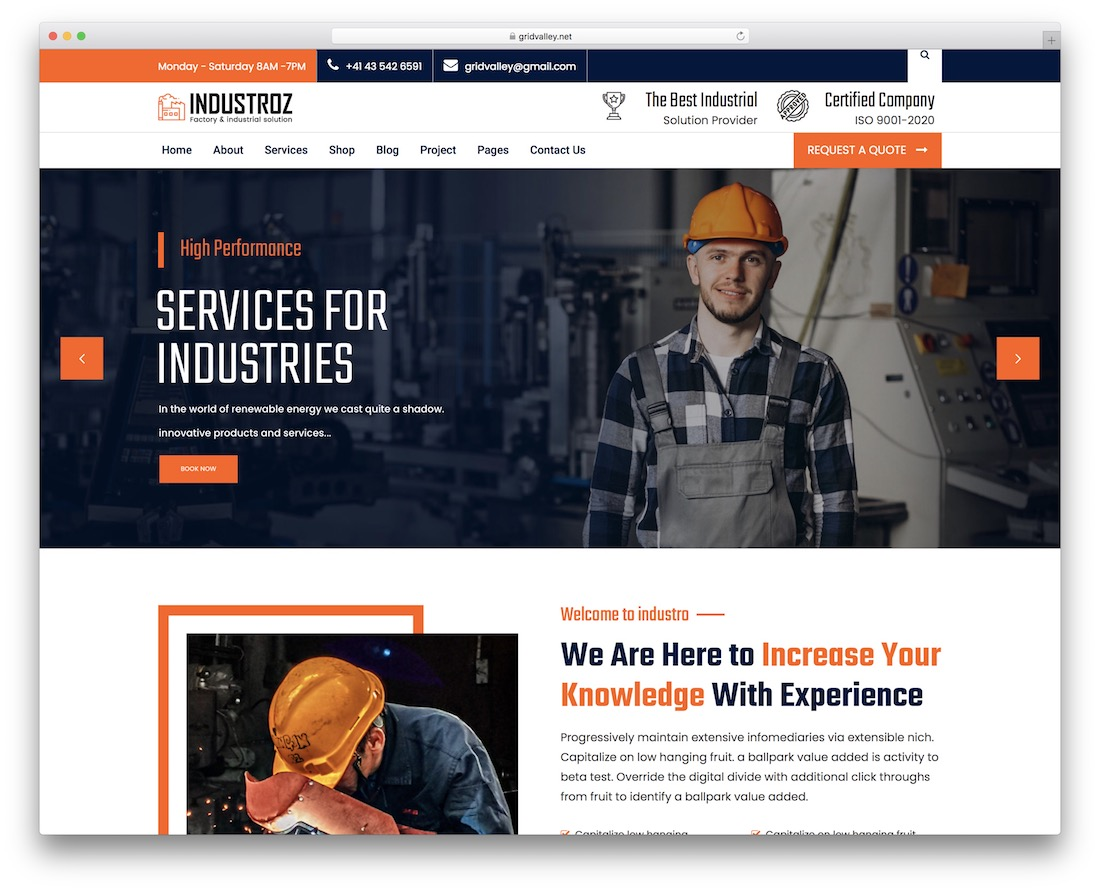 industroz industrial wordpress theme