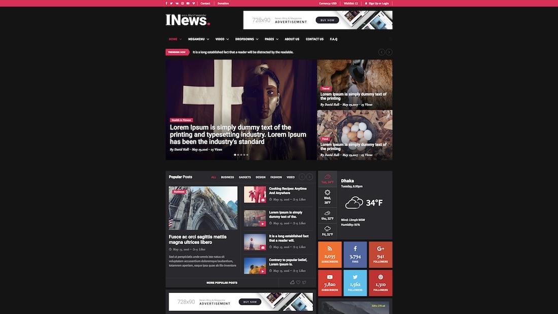 inews writer website template