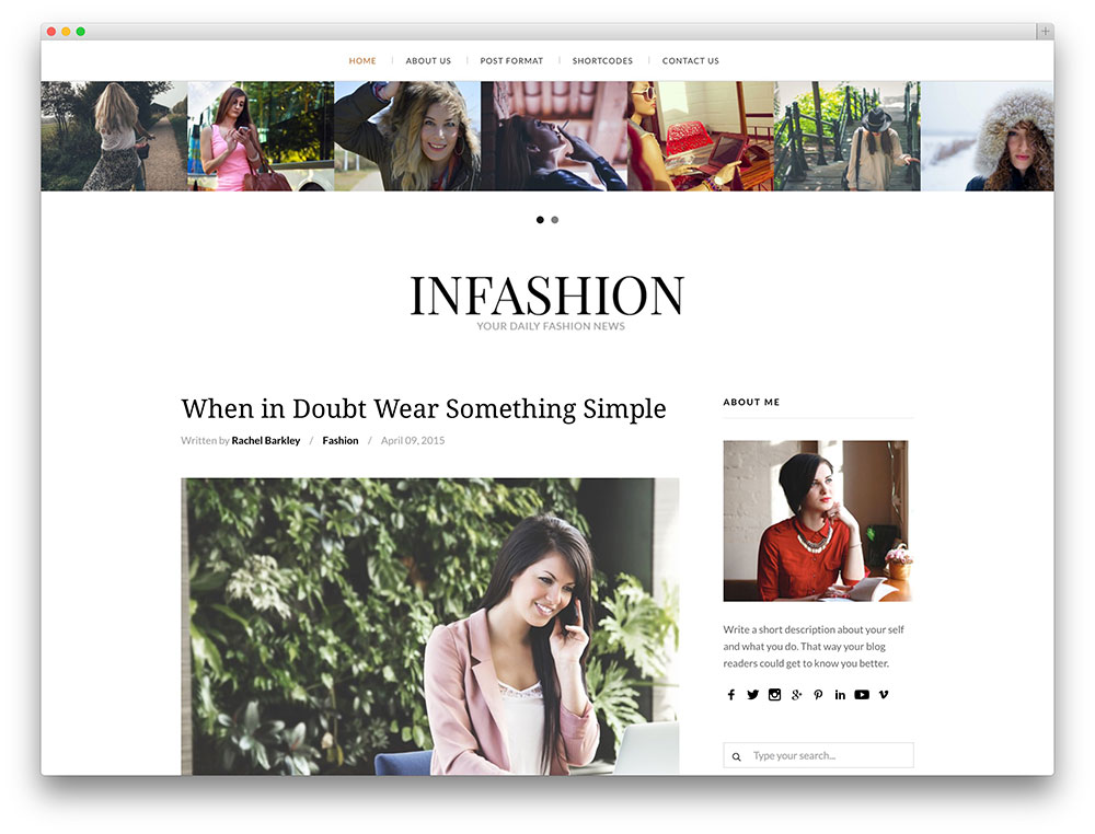 infashion - clean fashion blog theme