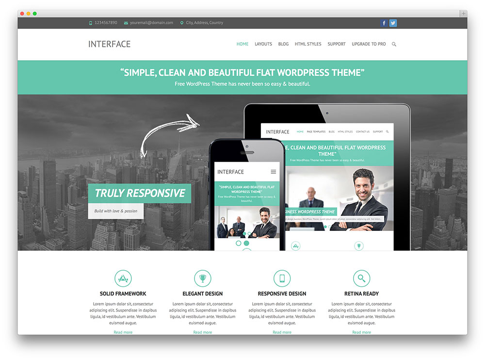30 free responsive wordpress business themes 2018 colorlib inferface clean business theme accmission Image collections