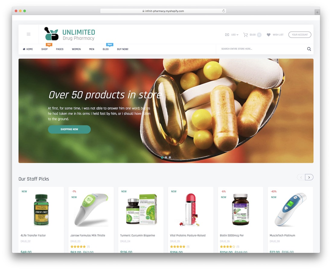 infinit shopify subscription theme