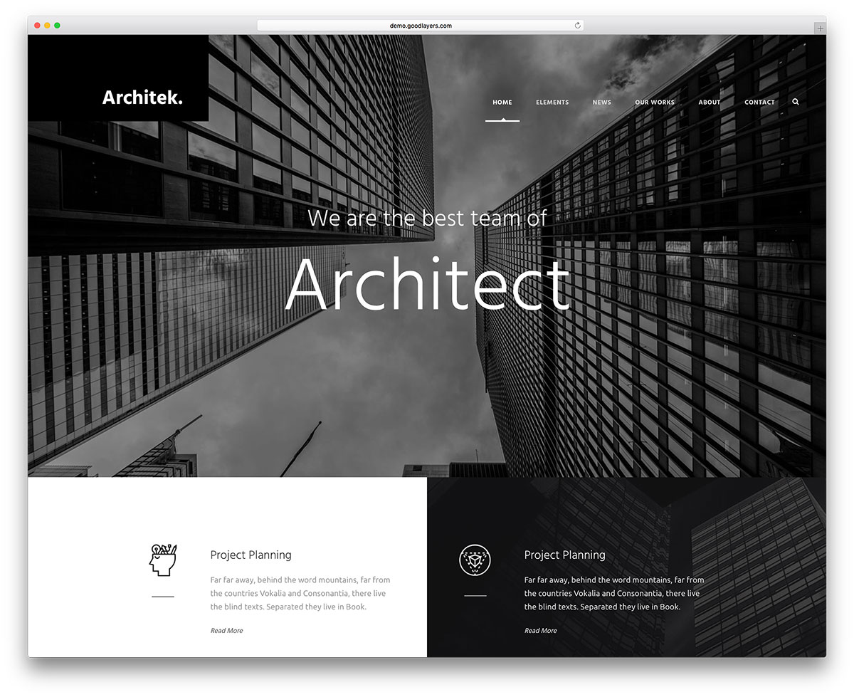 Infinite Best Architect Wordpress Web Template