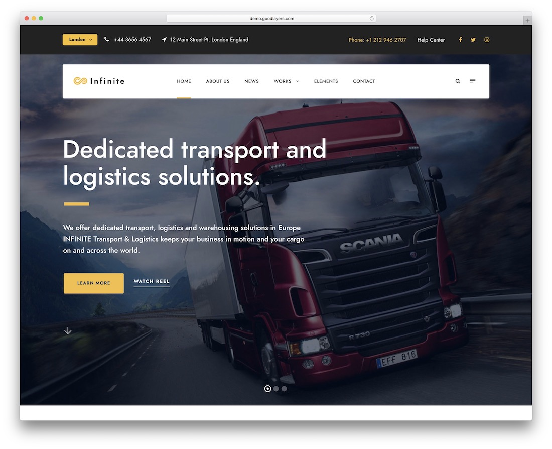 infinite transportation logistics wordpress theme