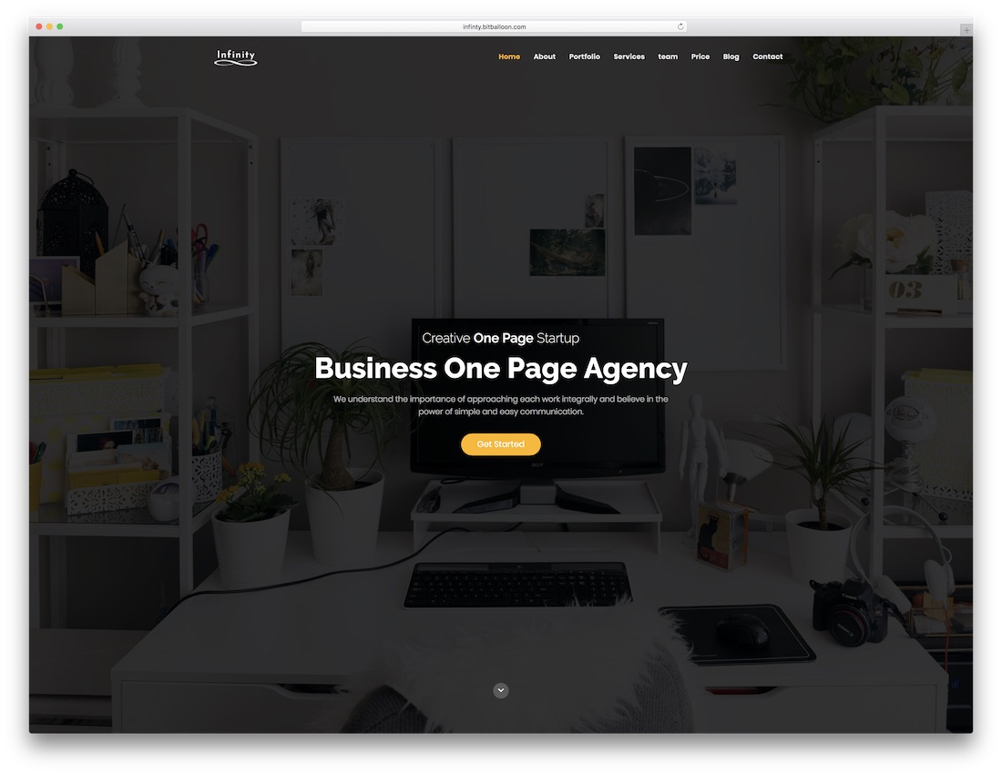 infinity html5 one page website template