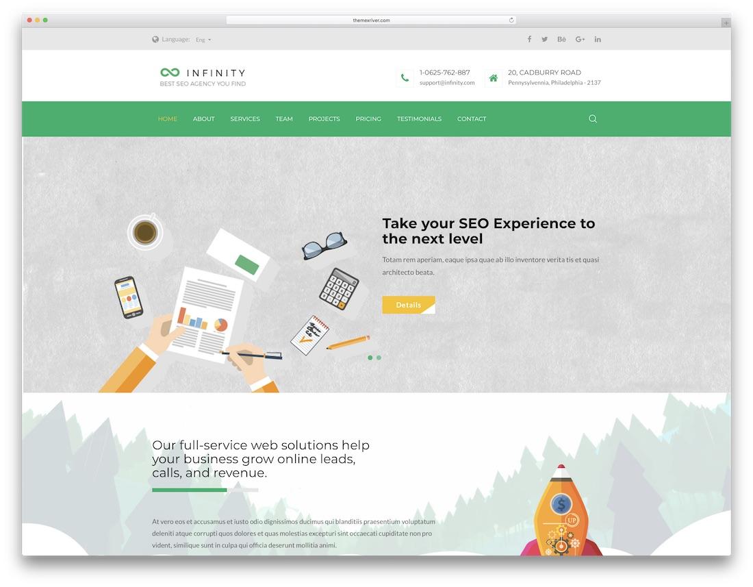 infinity marketing website template