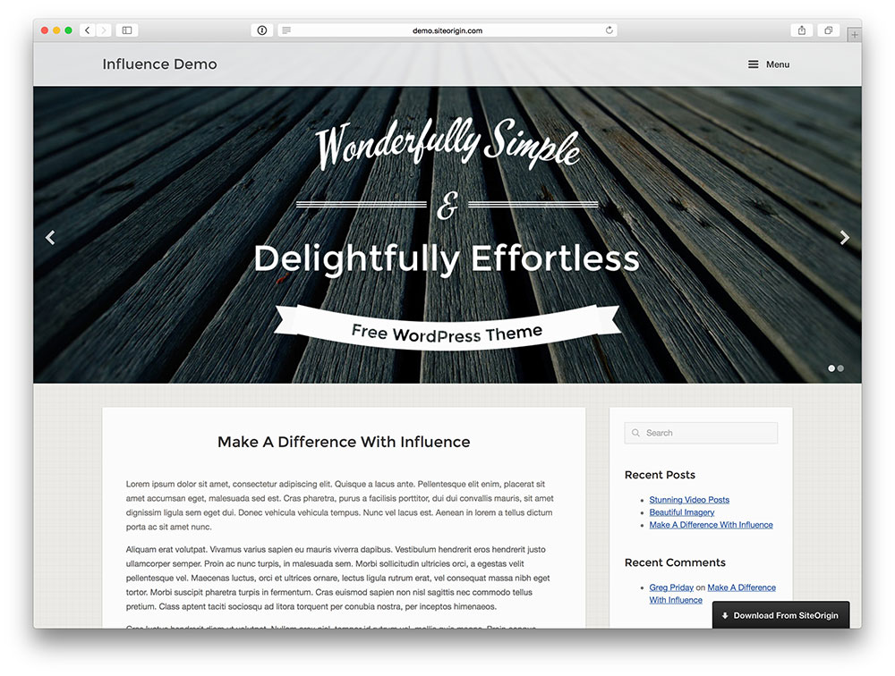 influence blog template