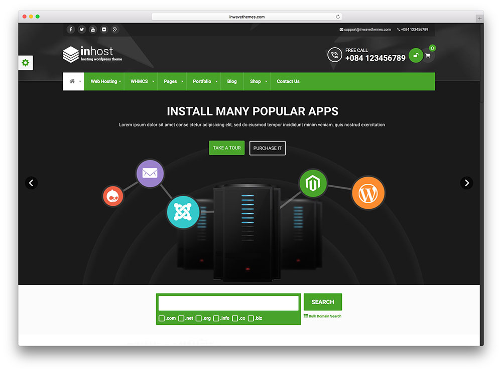 inhost - flat wordpress hosting theme