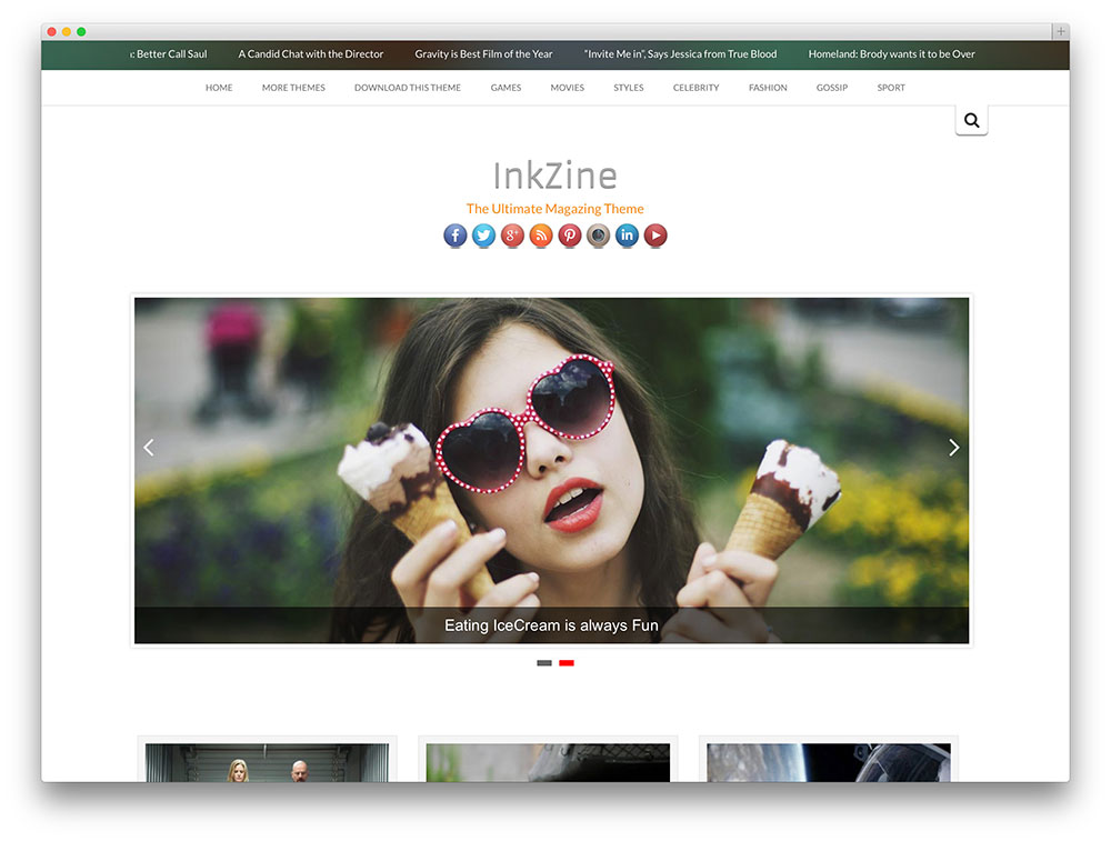 inkzine - theme with slider