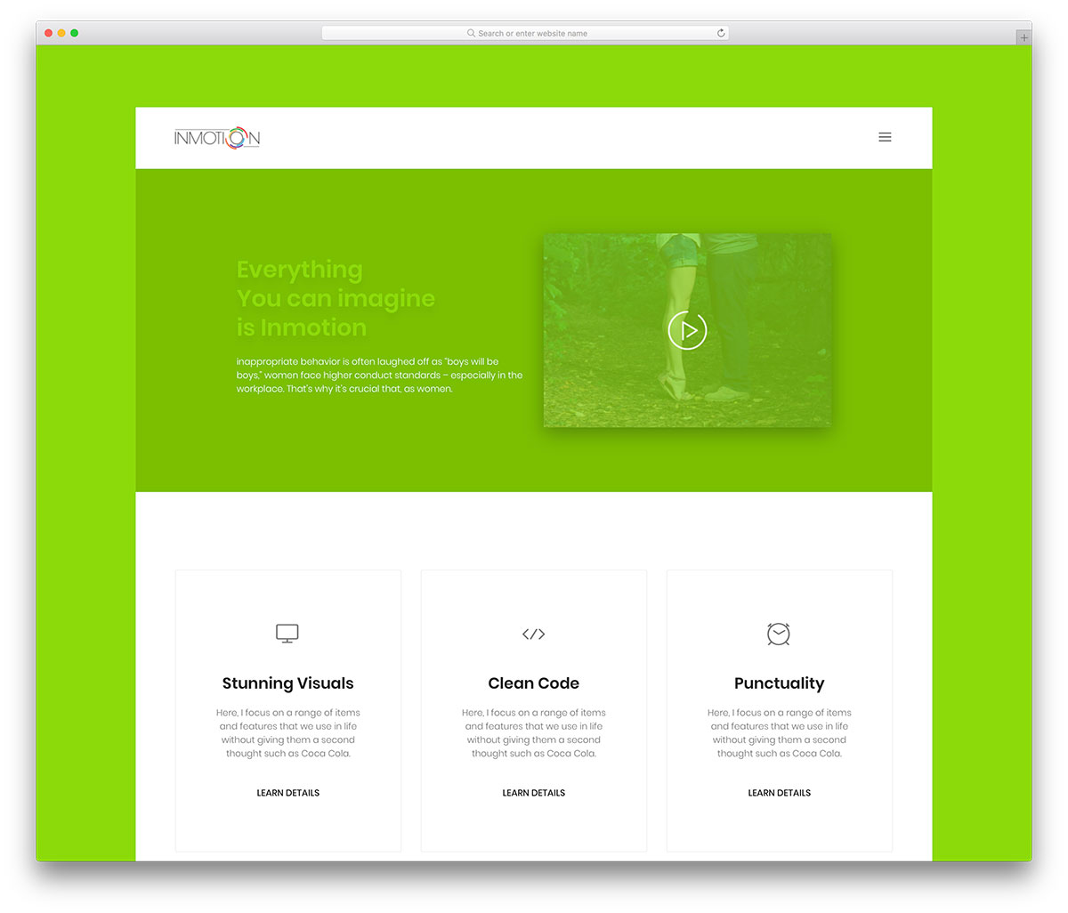 Inmotion Is An Eco Friendly Theme Based Free Website Template This Best Suits For Nature Lifestyle And Travel Bloggers The Fresh Green Color