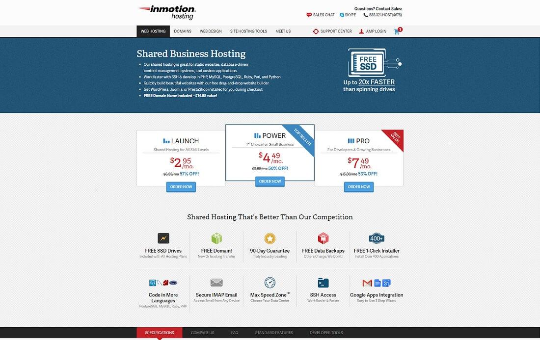 inmotion web hosting personal website