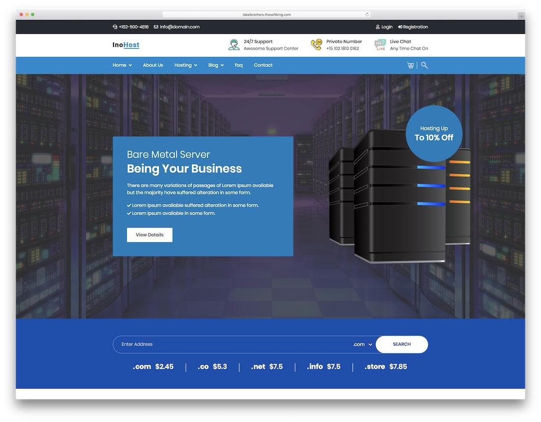 inohost web hosting website template