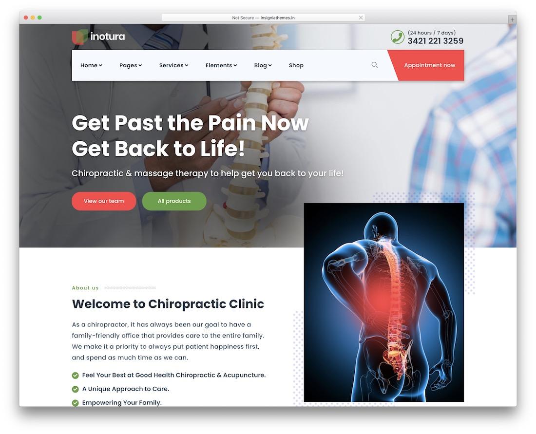 inotura chiropractor wordpress theme