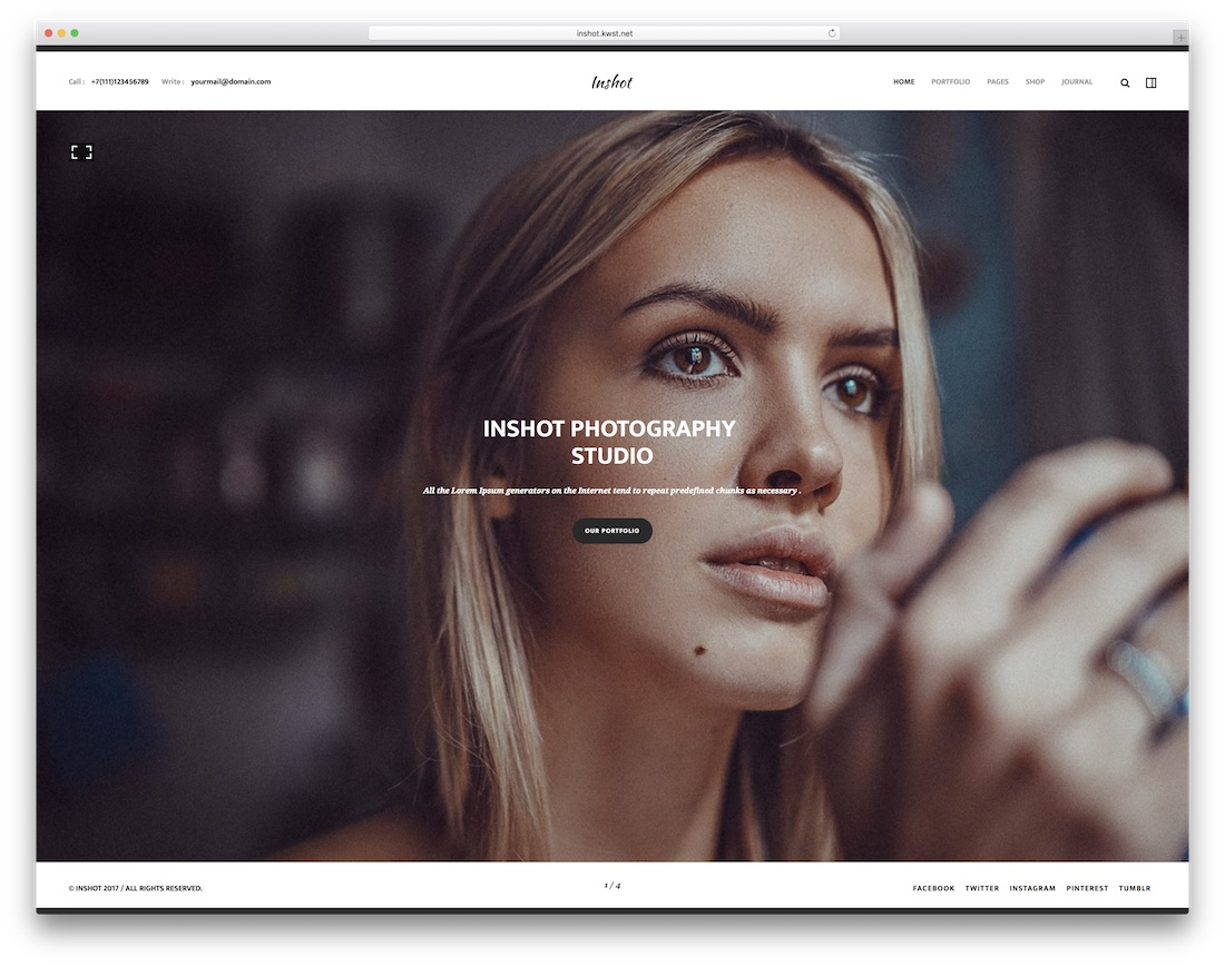inshot creative portfolio website template