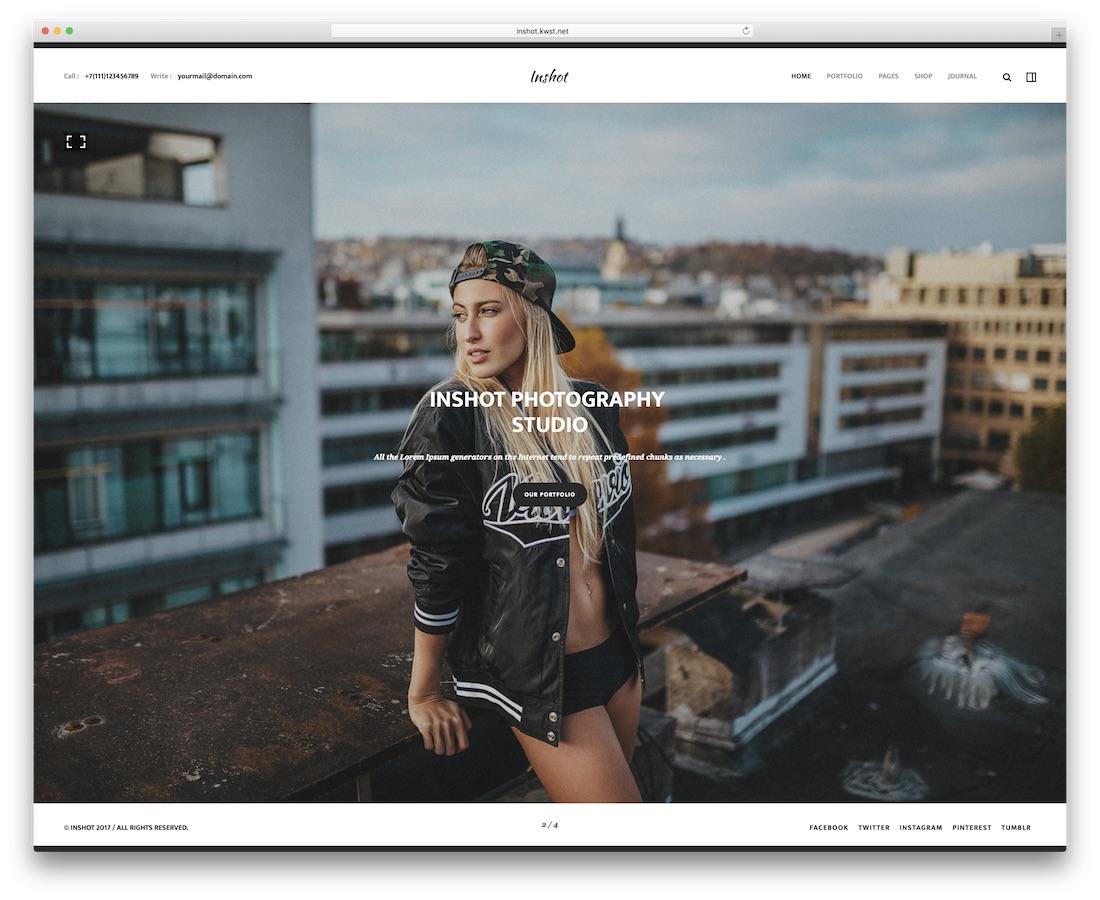 inshot creative website template