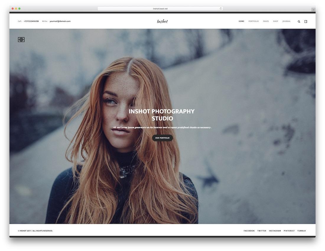 inshot fullscreen website template
