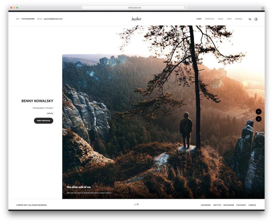 inshot minimal website template