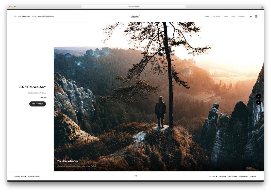 inshot photography website template