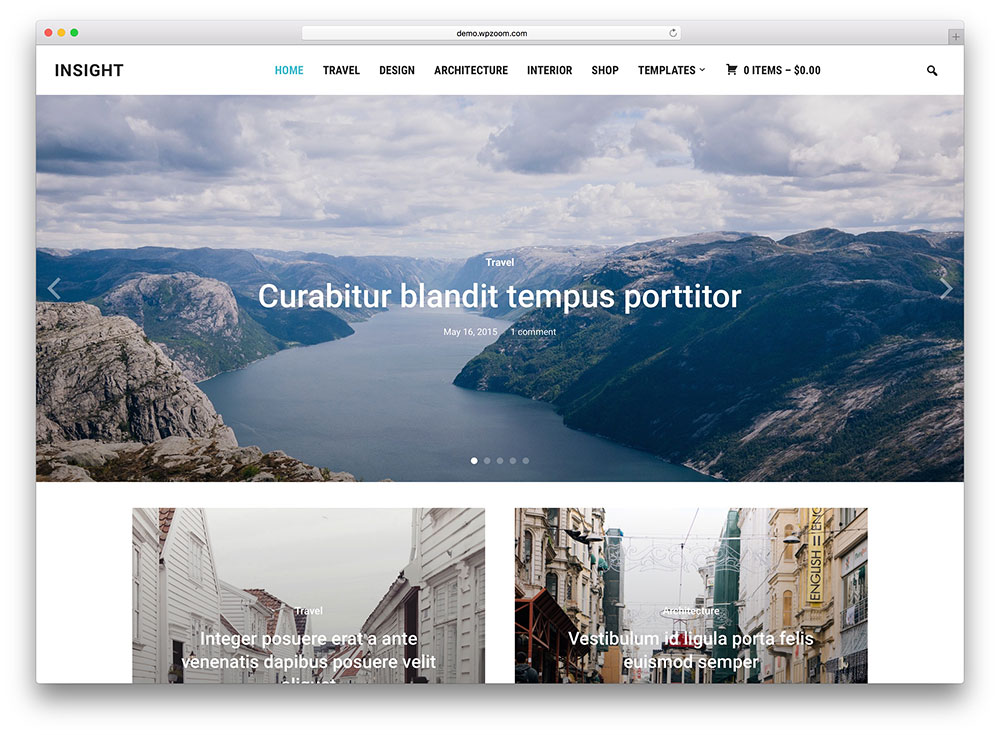 insight - photography blog style theme