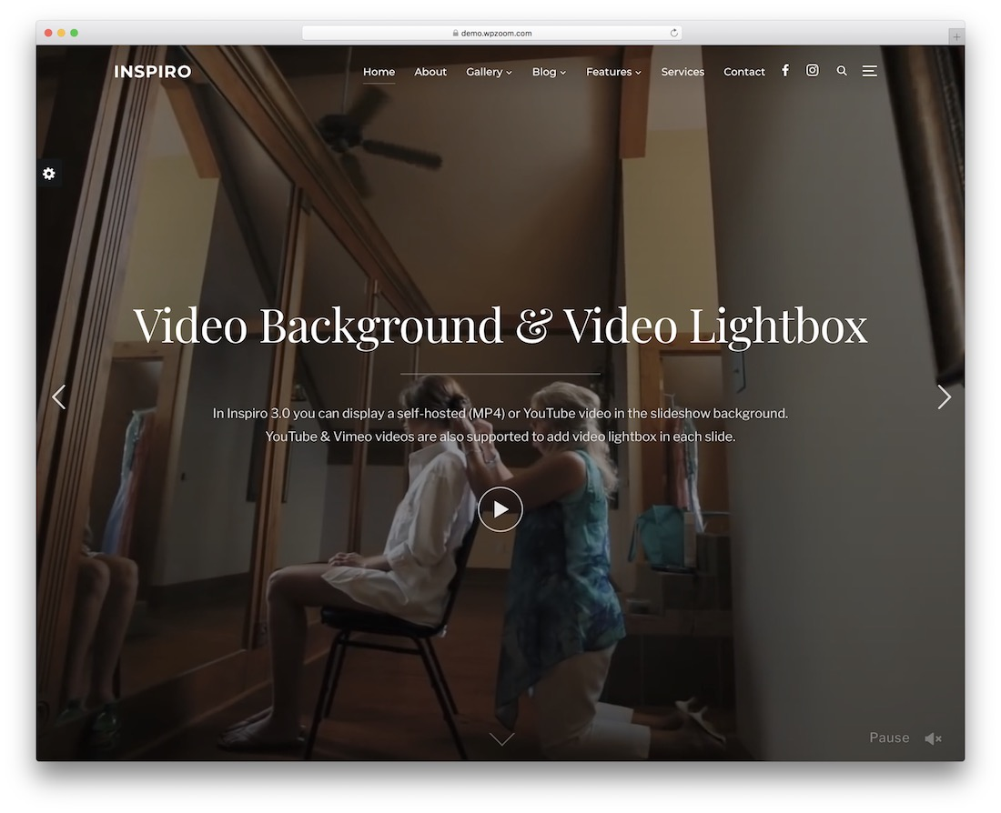 inspiro wordpress theme video background