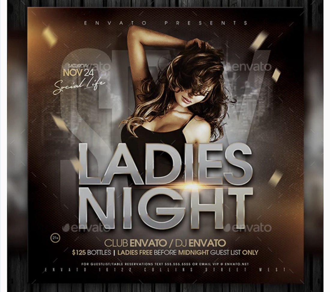 instagram ladies night flyer