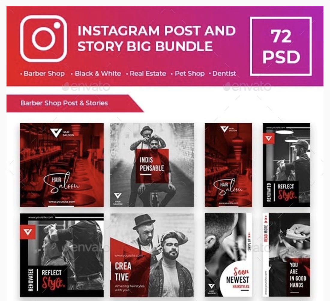 instagram post and story bundle