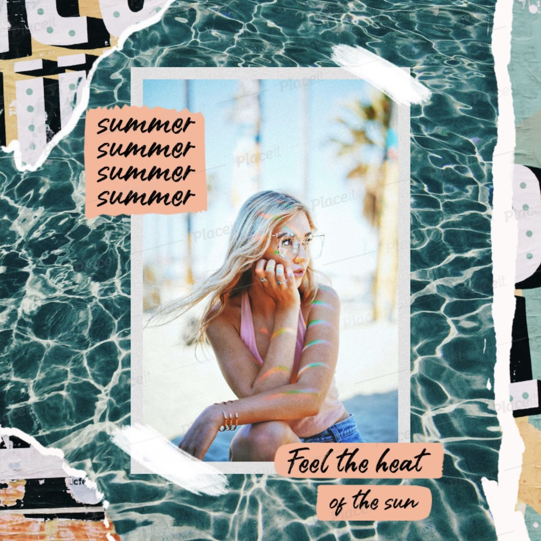 instagram post template featuring summer quotes and graphics