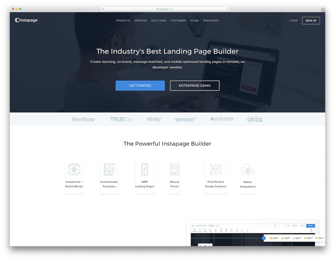 instapage best one page website builder