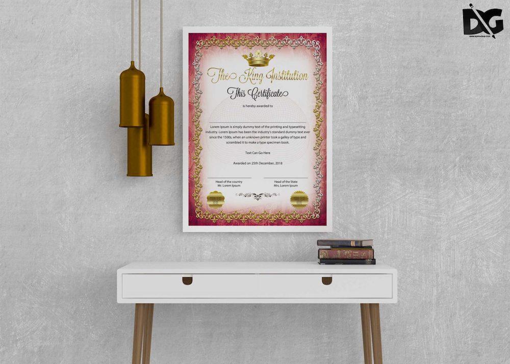 institute certificate psd mockup
