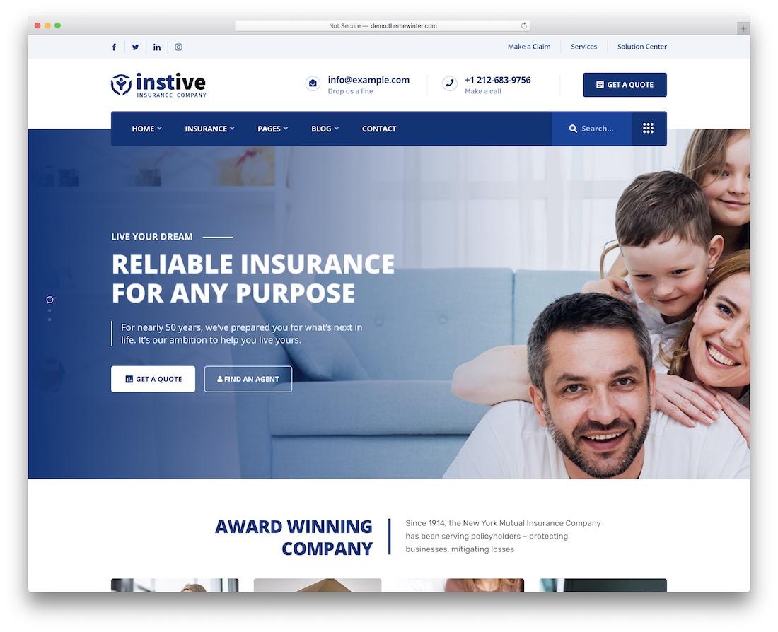 instive insurance website template